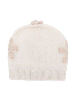 Cashmirino Cashmere appliqued knit hat - Neutrals