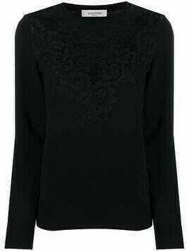 Valentino lace-panel knitted top - Black