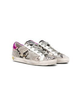 Golden Goose Kids distressed snakeskin sneakers - Grey