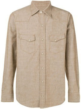 Fortela contrast stitching shirt - Brown