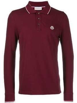Moncler logo long-sleeve polo shirt - Red
