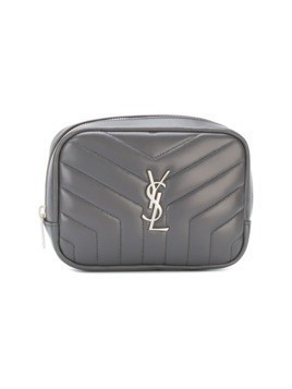 Saint Laurent zipped monogram cosmetic bag - Grey