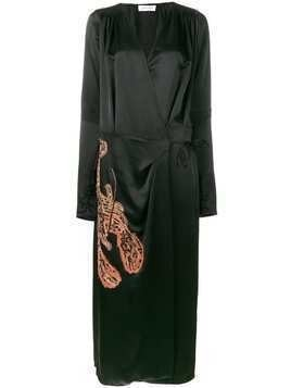 Attico Gabriela embroidered wrap dress - Black