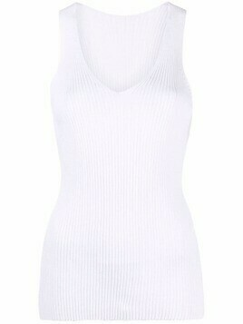 Roberto Collina ribbed V-neck tank top - White