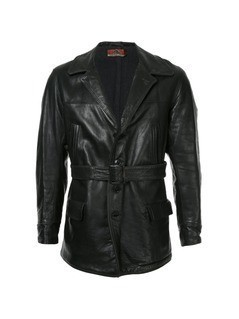 Fake Alpha Vintage 1930s leather car coat - Black