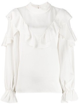 Jovonna Pouf ruffle-trimmed blouse - White