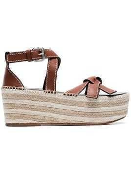 Loewe rust red Gate 70 raffia leather wedges - Brown