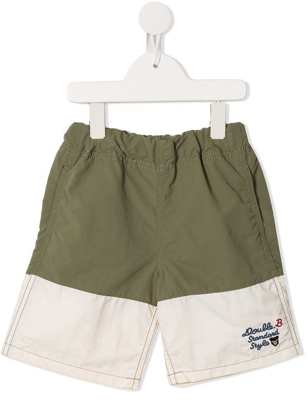 Miki House colour block shorts - Green