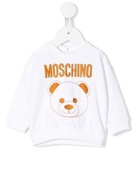 Moschino Kids embroidered toy bear sweatshirt - White