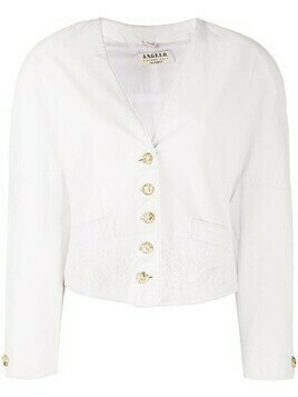 A.N.G.E.L.O. Vintage Cult 1980s embroidered lapeless jacket - White
