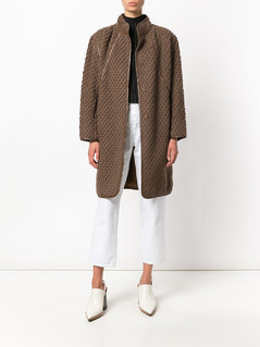 Issey Miyake Vintage diamond textured coat - Brown