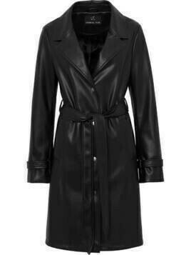 Unreal Fur belted faux leather coat - Black