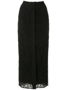 Martha Medeiros sofia lace-overlay silk satin pencil skirt - Black