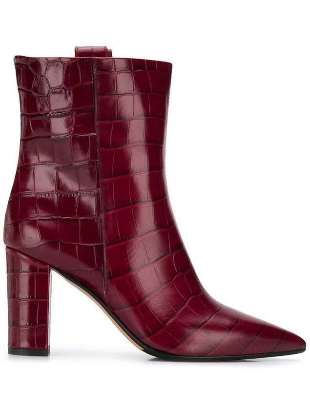 The Seller pointed croc-effect boots - Red
