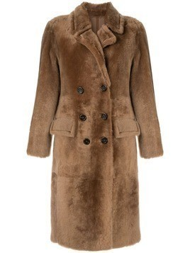 Yves Salomon shearling double breasted coat - Brown