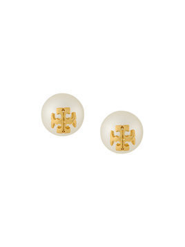 Tory Burch crystal pearl stud earrings - White