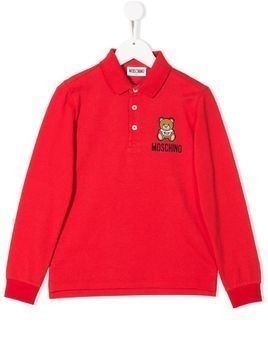 Moschino Kids toy bear polo shirt - Red