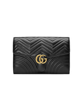 Gucci Black GG Marmont Leather clutch bag