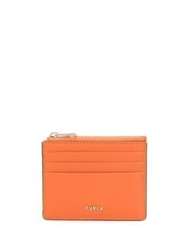 Furla logo zipped card case - ORANGE
