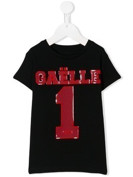 Gaelle Paris Kids mesh logo T-shirt - Black