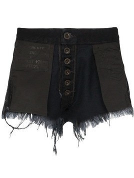 Unravel Project Reverse distressed denim shorts - Black