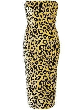 Alex Perry velvet touch strapless dress - Yellow