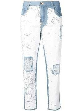 Don't Cry distressed slim-jeans with sequins - Blue
