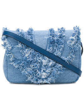 Elena Ghisellini distressed trim flap handbag - Blue