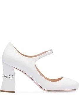 Miu Miu embellished slanted heel pumps - White