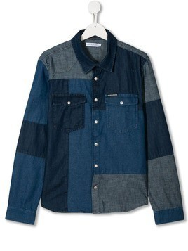 Calvin Klein Kids Patchwork Denim shirt - Blue