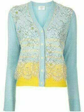Onefifteen floral tulle striped cardigan - Blue