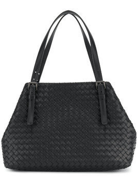 Bottega Veneta nero Intrecciato nappa medium cesta bag - Black