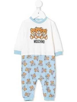 Moschino Kids teddy bear print romper - White