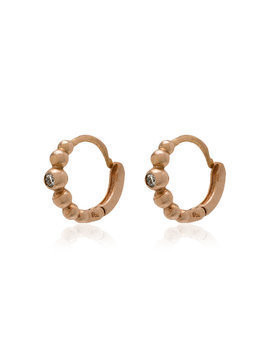 Gigi Clozeau rose gold lucky diamond mini hoop earrings - Metallic