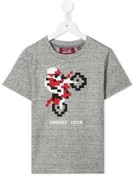 Mostly Heard Rarely Seen 8-Bit Excite motorbike print T-shirt - Grey