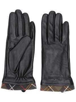 Barbour plaid-trim gloves - Black