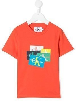 Calvin Klein Kids logo print T-shirt - ORANGE