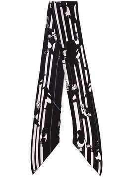 Rockins Magpie print striped silk scarf - Black