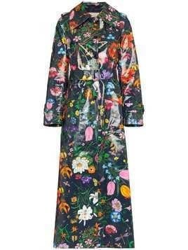 Gucci floral vinyl trench coat - Blue