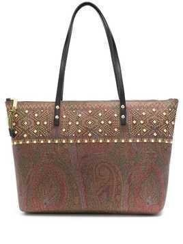 Etro studded paisley tote - Brown