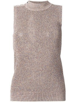 Jil Sander Navy speckled knit turtleneck tank - Brown