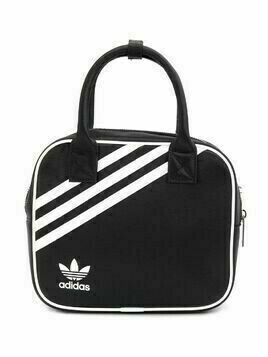 adidas logo stripe backpack with top handles - Black