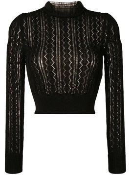 Alexa Chung ruffled neck knitted top - Black