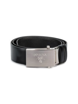 Prada Logo Embossed Buckle Belt - Black
