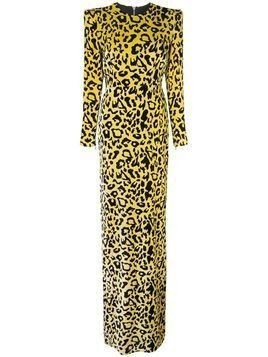 Alex Perry velvet touch side split maxi dress - Yellow