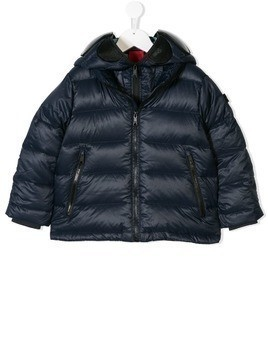 Ai Riders On The Storm Kids mask hood padded jacket - Blue