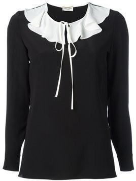 Saint Laurent monochrome ruffle collar blouse - Black