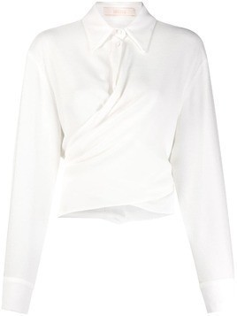 Ssheena plain twisted detail shirt - White