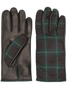 Paul Smith check panel gloves - Brown