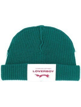 Charles Jeffrey Loverboy beanie hat with logo patch - Green